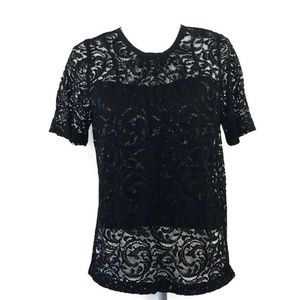 Madewell Black Floral Short Sleeve Top